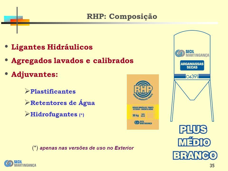 35 RHP: Composição Ligantes Hidráulicos Agregados lavados e calibrados Adjuvantes: Plastificantes Retentores de Água Hidrofugantes (*) (*) apenas nas versões de uso no Exterior