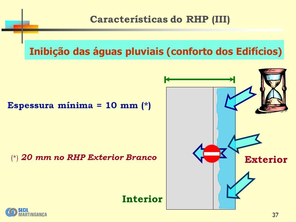 37 Características do RHP (III) Interior Exterior Espessura mínima = 10 mm (*) (*) 20 mm no RHP Exterior Branco Inibição das águas pluviais (conforto dos Edifícios)