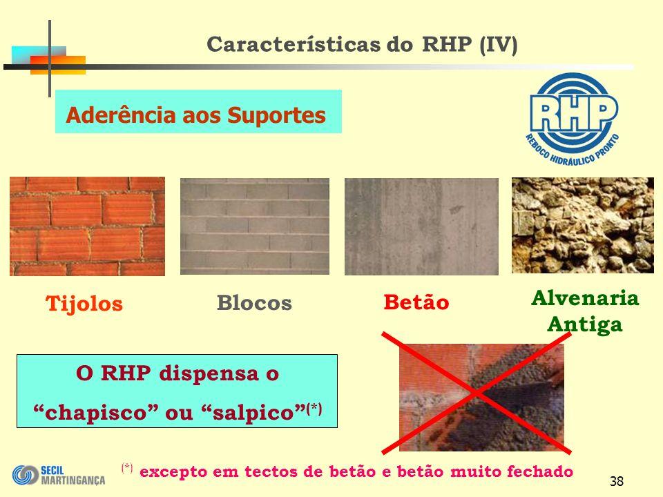 38 Características do RHP (IV) Blocos Betão O RHP dispensa o chapisco ou salpico (*) Tijolos Alvenaria Antiga (*) excepto em tectos de betão e betão muito fechado Aderência aos Suportes