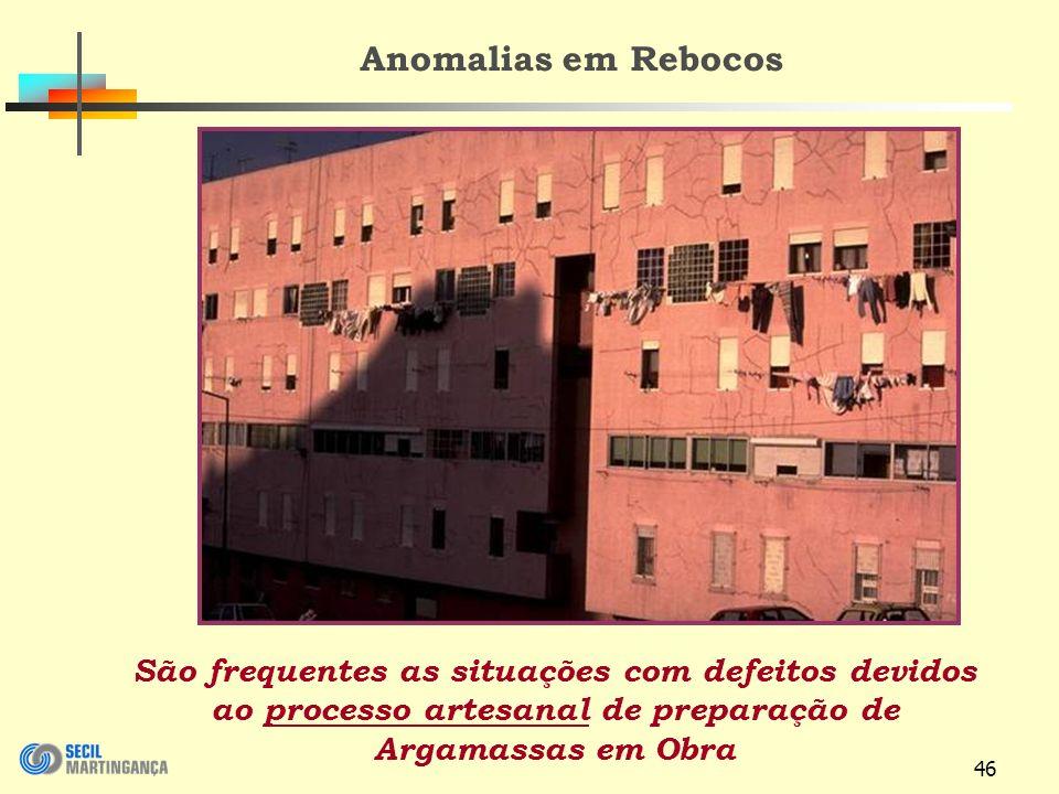46 Anomalias em Rebocos São frequentes as situações com defeitos devidos ao processo artesanal de preparação de Argamassas em Obra