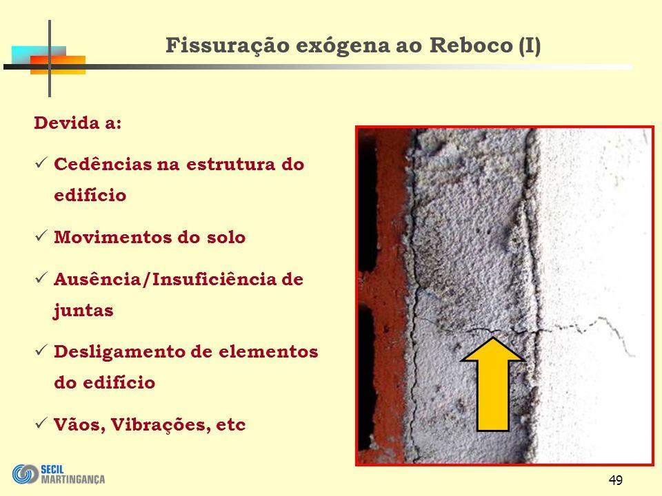 49 Fissuração exógena ao Reboco (I) Devida a: Cedências na estrutura do edifício Movimentos do solo Ausência/Insuficiência de juntas Desligamento de elementos do edifício Vãos, Vibrações, etc