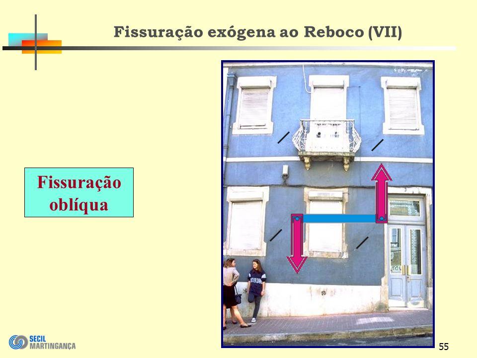 55 Fissuração exógena ao Reboco (VII) Fissuração oblíqua