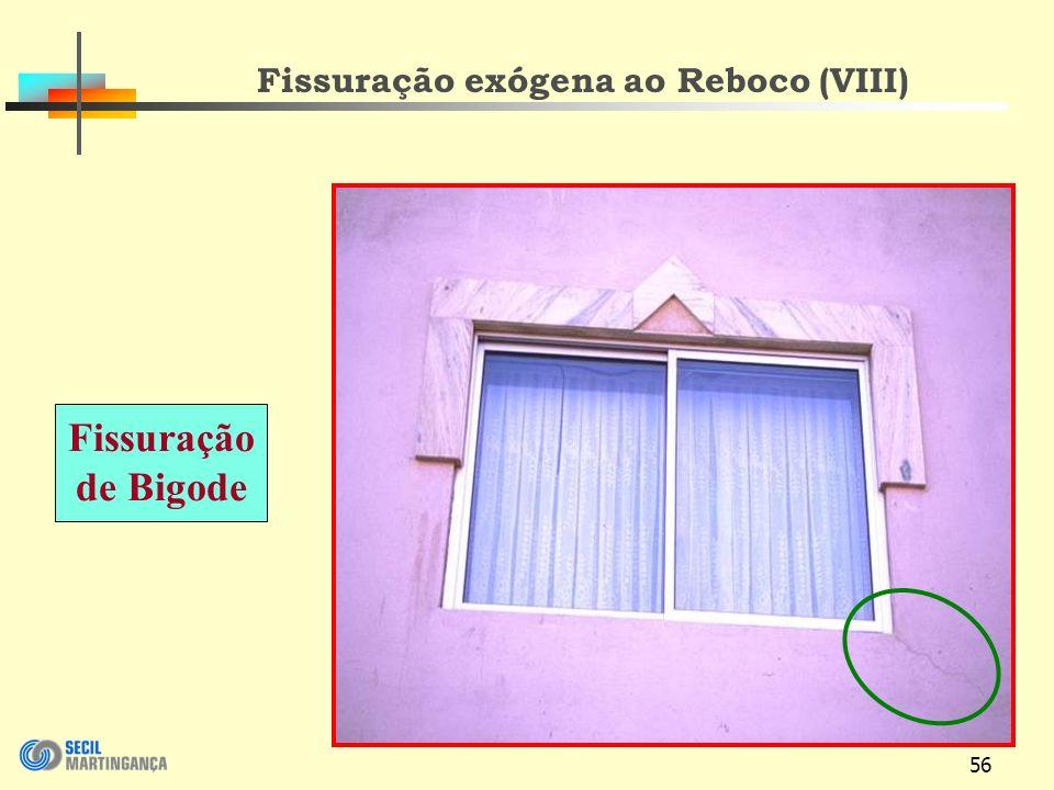 56 Fissuração exógena ao Reboco (VIII) Fissuração de Bigode