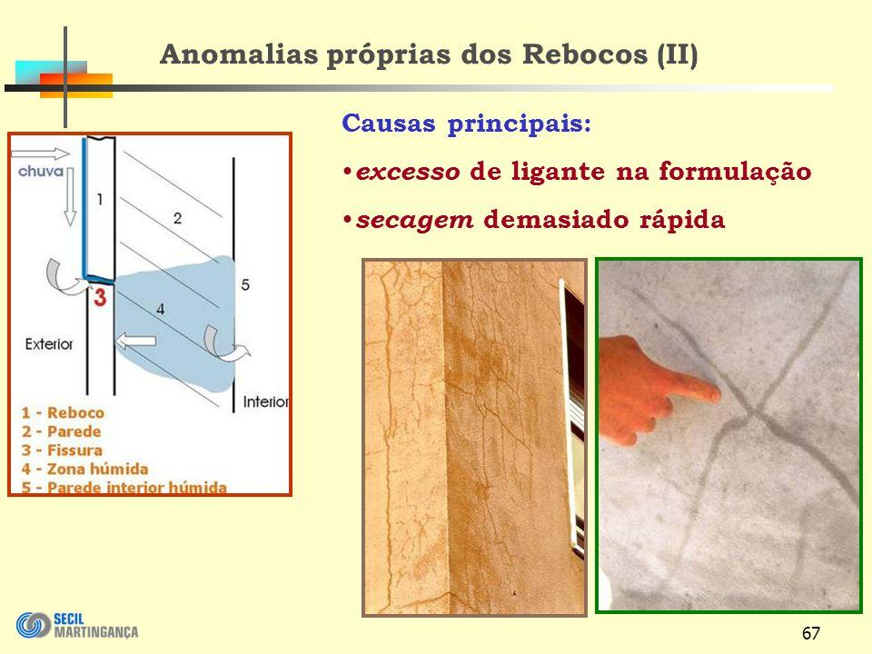 67 Causas principais: excesso de ligante na formulação secagem demasiado rápida Anomalias próprias dos Rebocos (II)