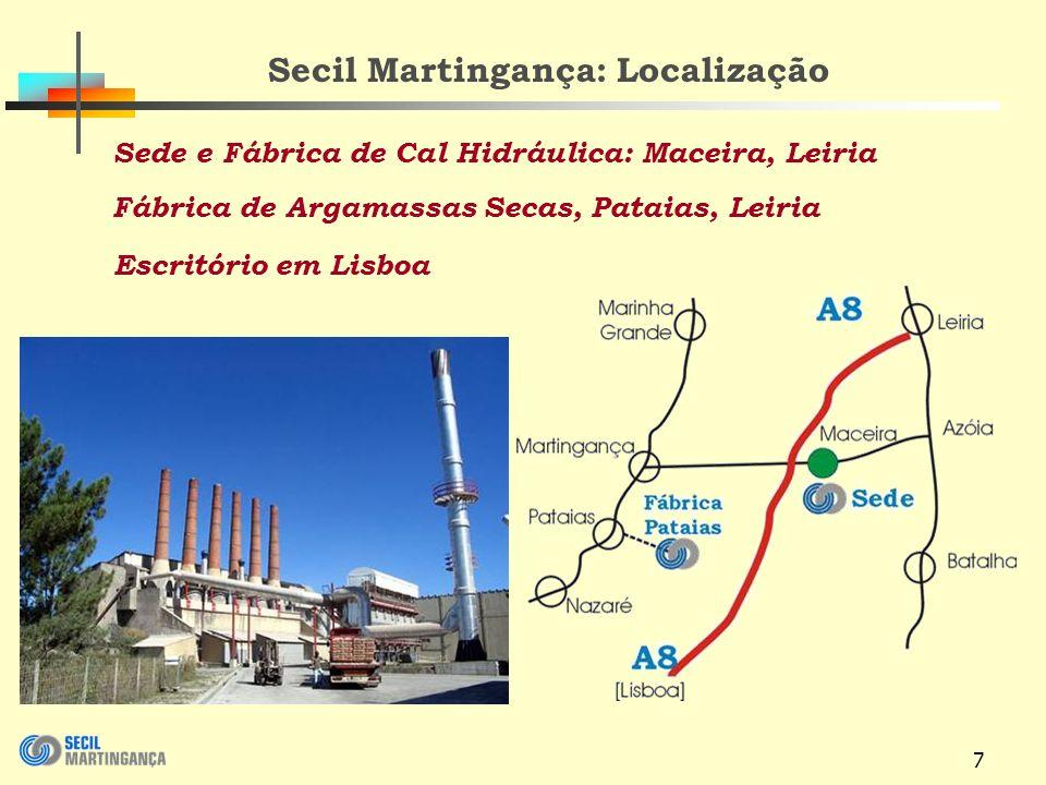 7 Secil Martingança: Localização Sede e Fábrica de Cal Hidráulica: Maceira, Leiria Fábrica de Argamassas Secas, Pataias, Leiria Escritório em Lisboa