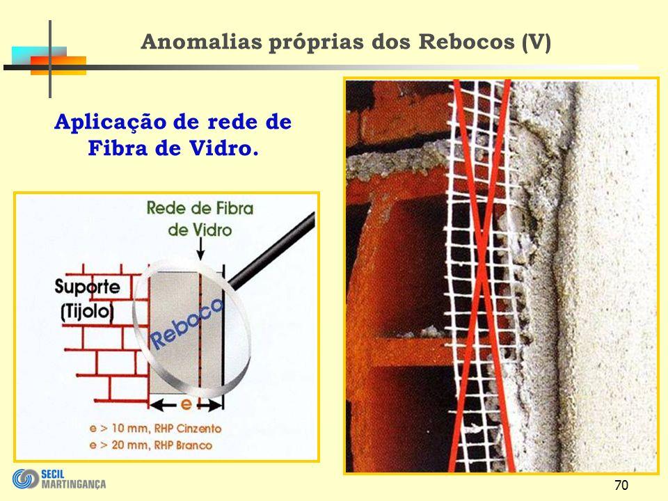 70 Aplicação de rede de Fibra de Vidro. Anomalias próprias dos Rebocos (V)