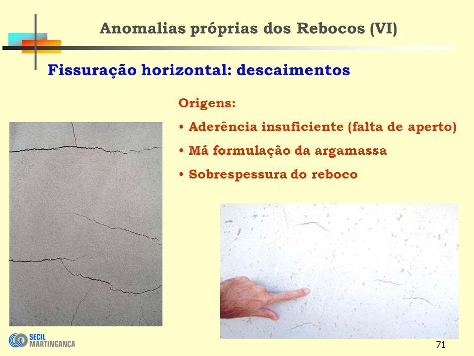 71 Fissuração horizontal: descaimentos Anomalias próprias dos Rebocos (VI) Origens: Aderência insuficiente (falta de aperto) Má formulação da argamassa Sobrespessura do reboco