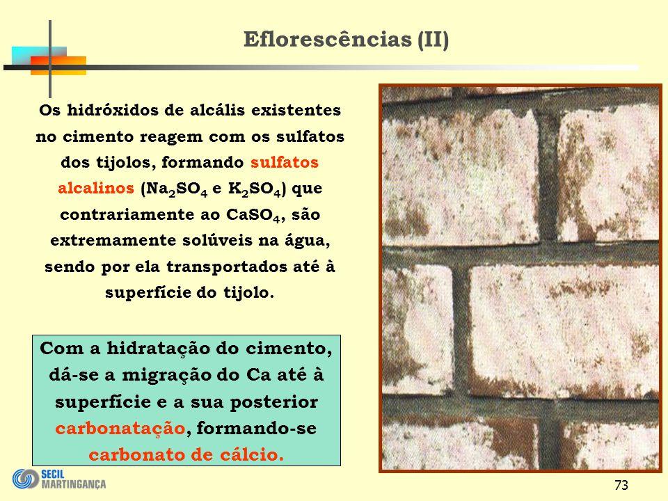 73 Os hidróxidos de alcális existentes no cimento reagem com os sulfatos dos tijolos, formando sulfatos alcalinos (Na 2 SO 4 e K 2 SO 4 ) que contrariamente ao CaSO 4, são extremamente solúveis na água, sendo por ela transportados até à superfície do tijolo.
