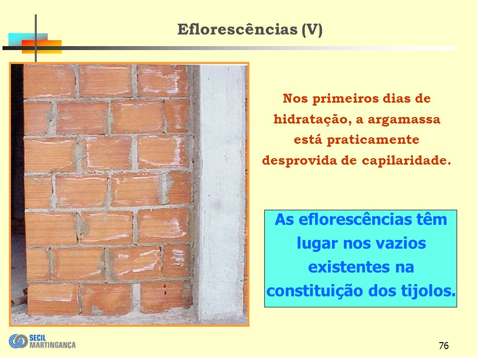 76 Eflorescências (V) Nos primeiros dias de hidratação, a argamassa está praticamente desprovida de capilaridade.