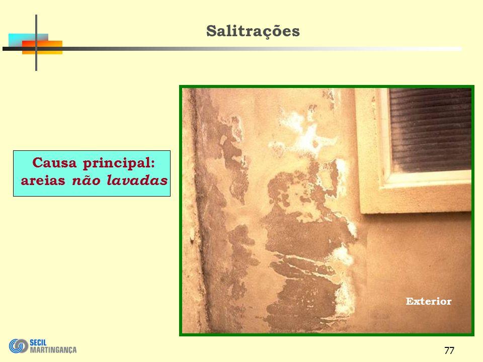 77 Exterior Salitrações Causa principal: areias não lavadas