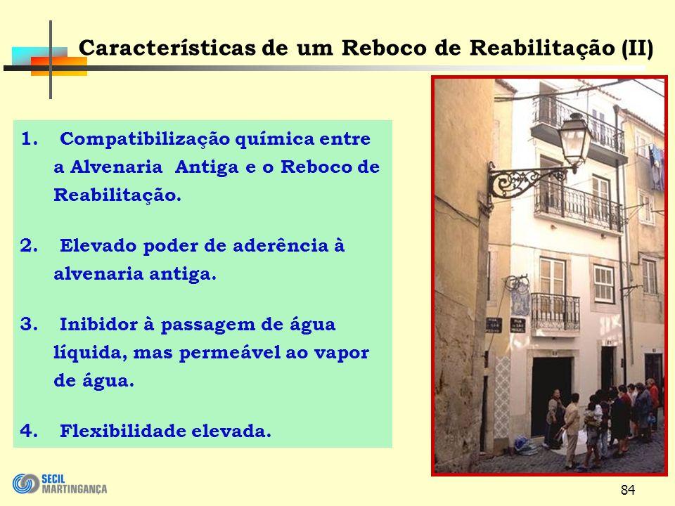 84 1.Compatibilização química entre a Alvenaria Antiga e o Reboco de Reabilitação.