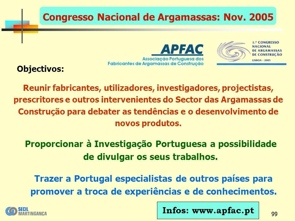 99 Congresso Nacional de Argamassas: Nov.