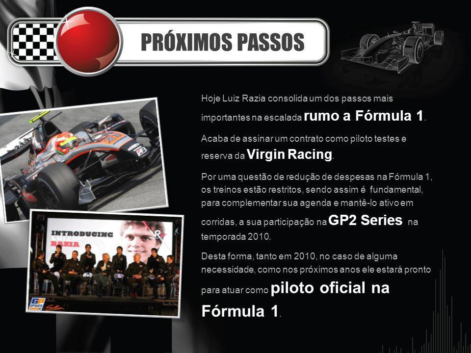 PRÓXIMOS PASSOS Hoje Luiz Razia consolida um dos passos mais importantes na escalada rumo a Fórmula 1. Acaba de assinar um contrato como piloto testes