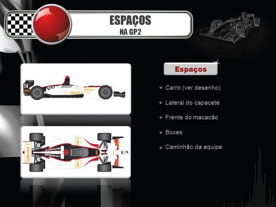 ESPAÇOS NA GP2 Carro (ver desenho) Lateral do capacete Frente do macacão Boxes Caminhão da equipe