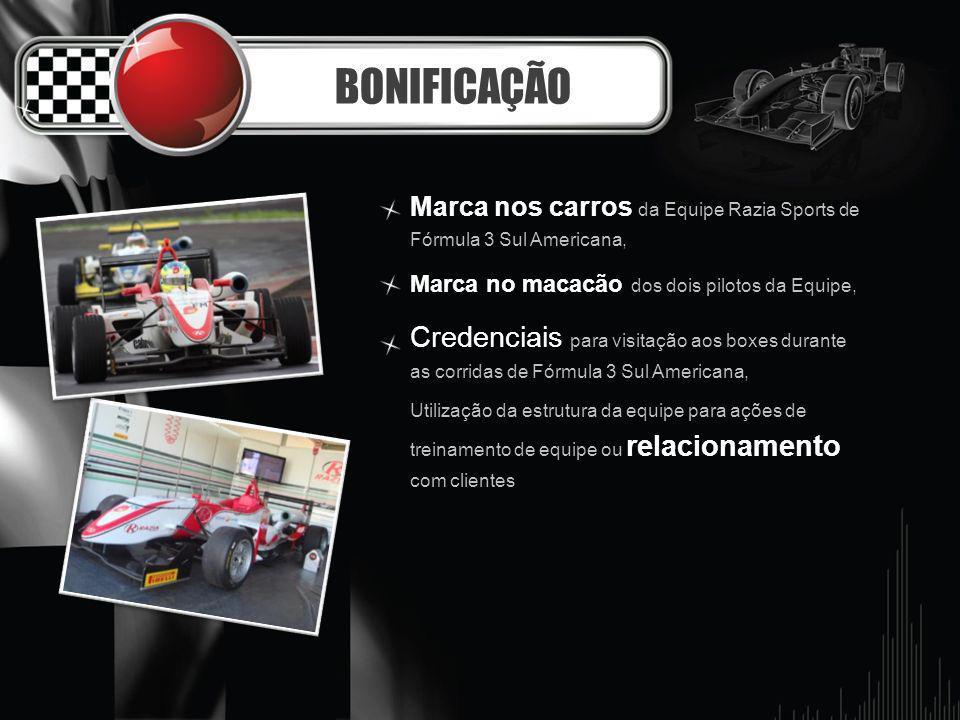 BONIFICAÇÃO Marca nos carros da Equipe Razia Sports de Fórmula 3 Sul Americana, Marca no macacão dos dois pilotos da Equipe, Credenciais para visitaçã