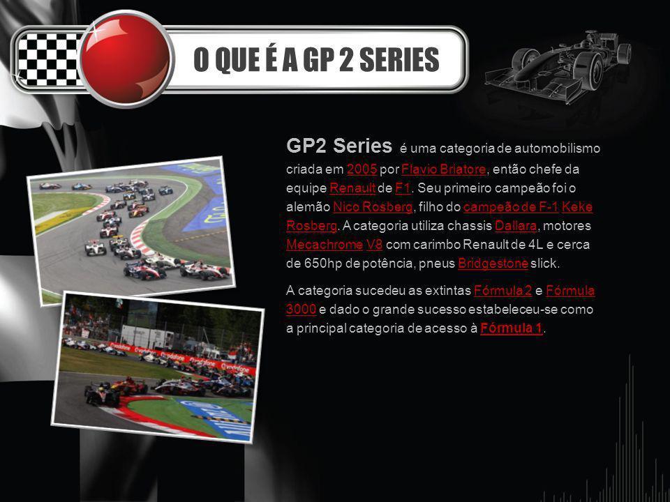 O QUE É A GP 2 SERIES GP2 Series é uma categoria de automobilismo criada em 2005 por Flavio Briatore, então chefe da equipe Renault de F1. Seu primeir