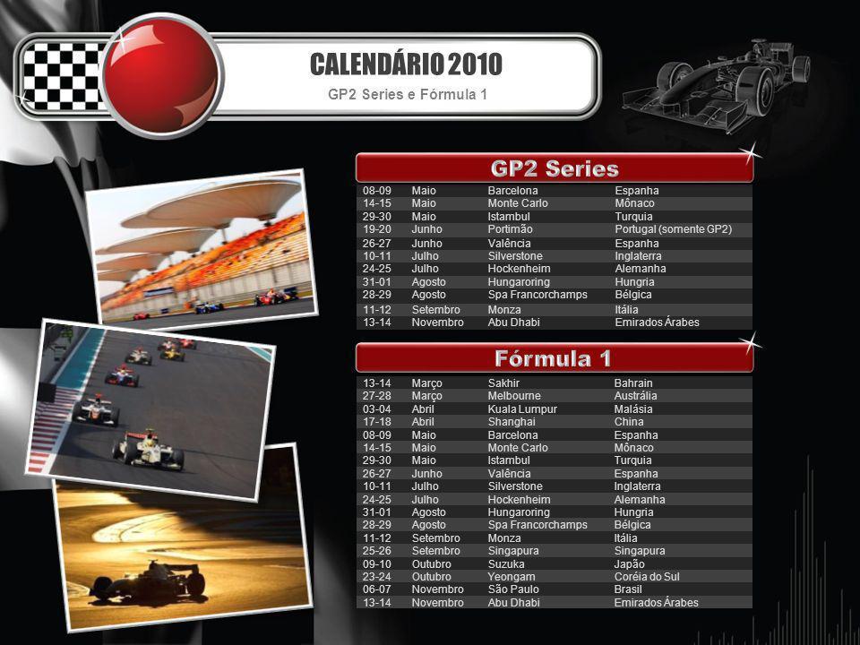 CALENDÁRIO 2010 GP2 Series e Fórmula 1 08-09MaioBarcelonaEspanha 14-15MaioMonte CarloMônaco 29-30MaioIstambulTurquia 19-20JunhoPortimãoPortugal (somen
