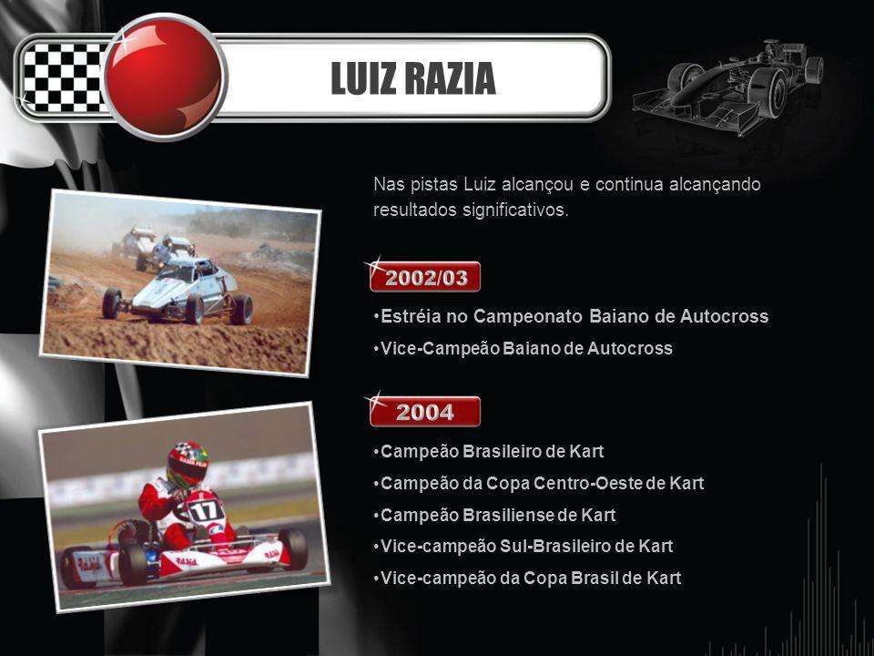 LUIZ RAZIA Nas pistas Luiz alcançou e continua alcançando resultados significativos. Estréia no Campeonato Baiano de Autocross Vice-Campeão Baiano de