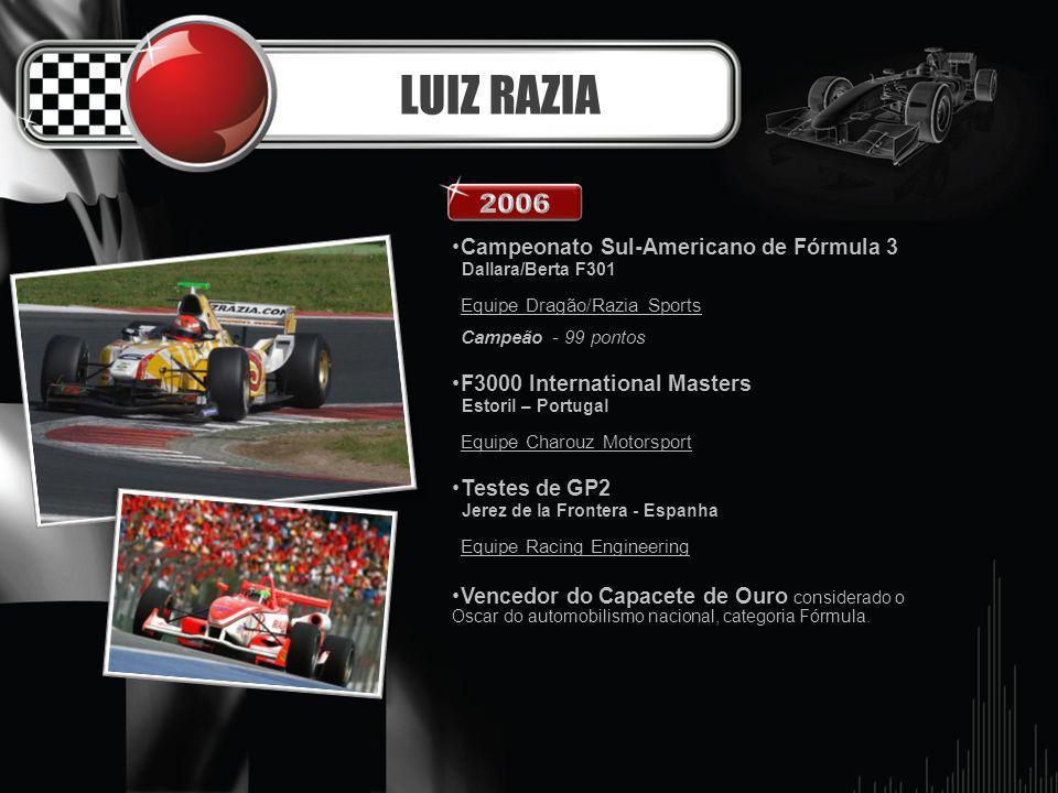 LUIZ RAZIA Campeonato Sul-Americano de Fórmula 3 Dallara/Berta F301 Equipe Dragão/Razia Sports Campeão - 99 pontos F3000 International Masters Estoril