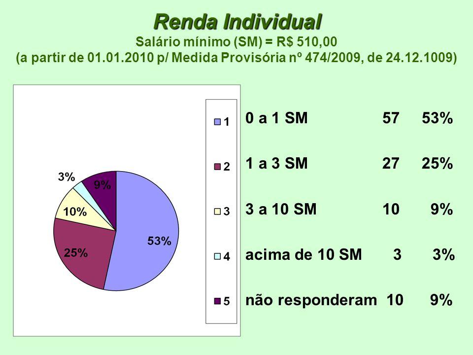 Renda Individual Renda Individual Salário mínimo (SM) = R$ 510,00 (a partir de 01.01.2010 p/ Medida Provisória nº 474/2009, de 24.12.1009) 0 a 1 SM 57