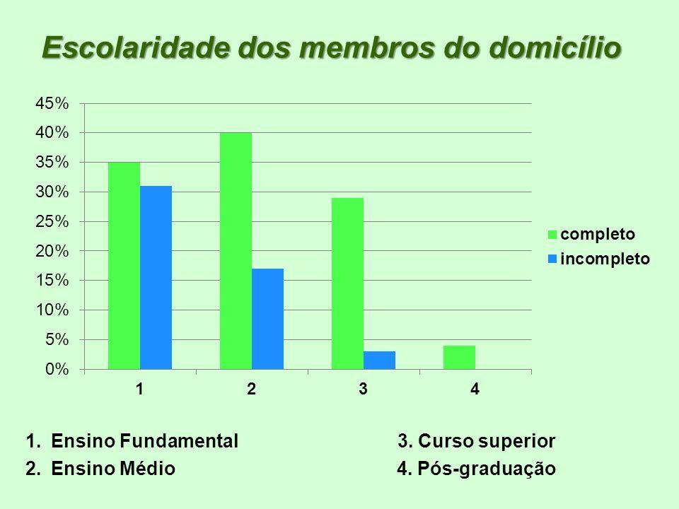 Escolaridade dos membros do domicílio 1.Ensino Fundamental 3. Curso superior 2.Ensino Médio 4. Pós-graduação
