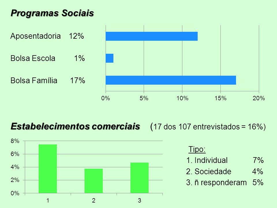 Programas Sociais Aposentadoria 12% Bolsa Escola 1% Bolsa Família 17% Estabelecimentos comerciais Estabelecimentos comerciais ( 17 dos 107 entrevistad