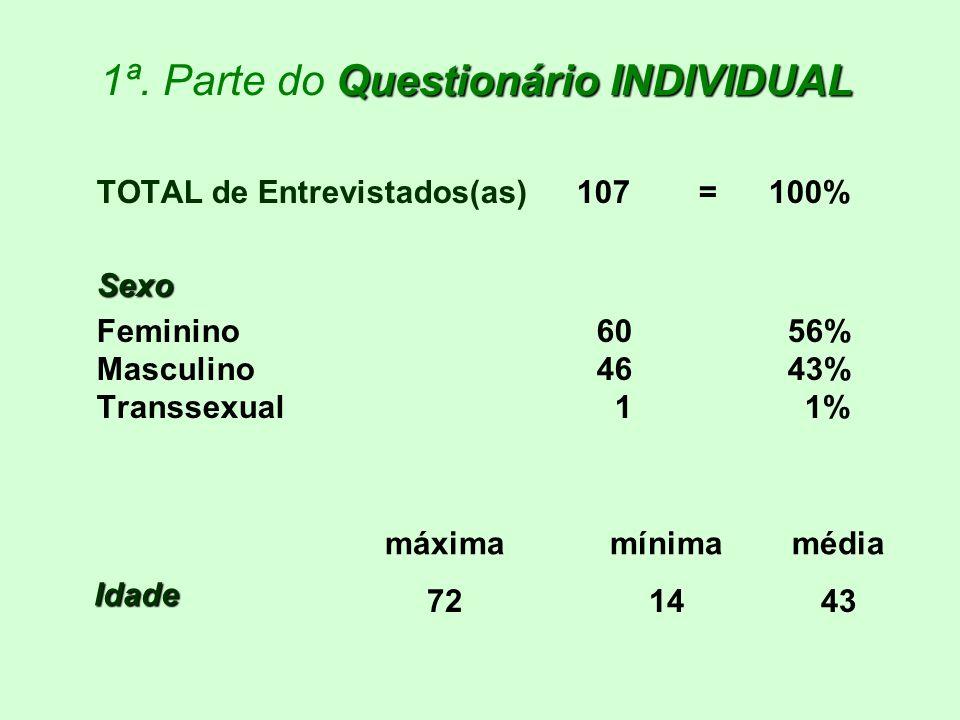 Questionário INDIVIDUAL 1ª. Parte do Questionário INDIVIDUAL TOTAL de Entrevistados(as)107 =100%Sexo Feminino 60 56% Masculino 46 43% Transsexual 1 1%