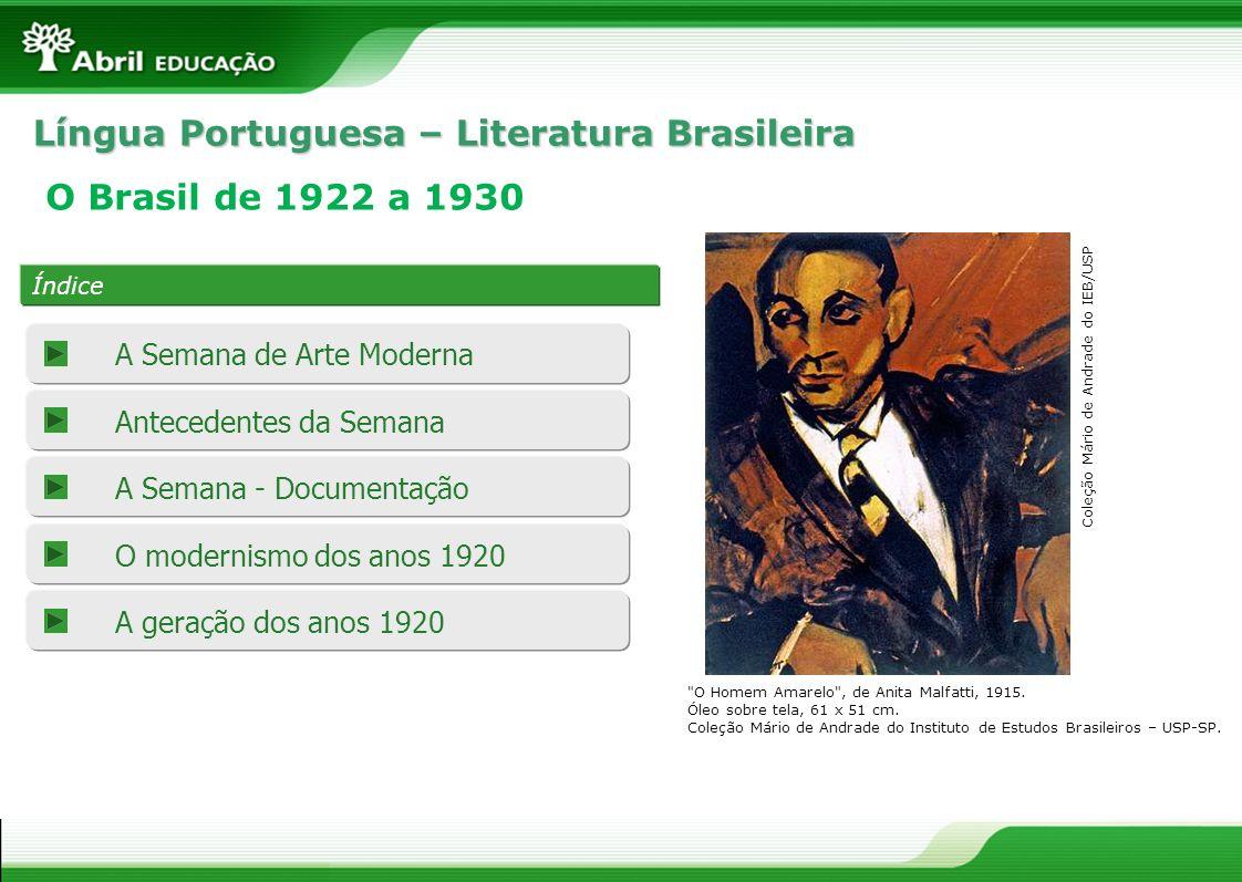 Língua Portuguesa – Literatura Brasileira Índice O Brasil de 1922 a 1930 A Semana - Documentação O modernismo dos anos 1920 A geração dos anos 1920 An