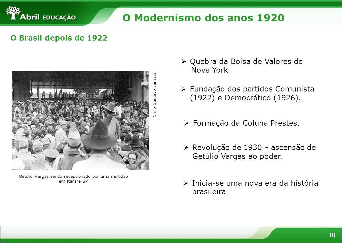 10 O Modernismo dos anos 1920 O Brasil depois de 1922 Quebra da Bolsa de Valores de Nova York. Fundação dos partidos Comunista (1922) e Democrático (1