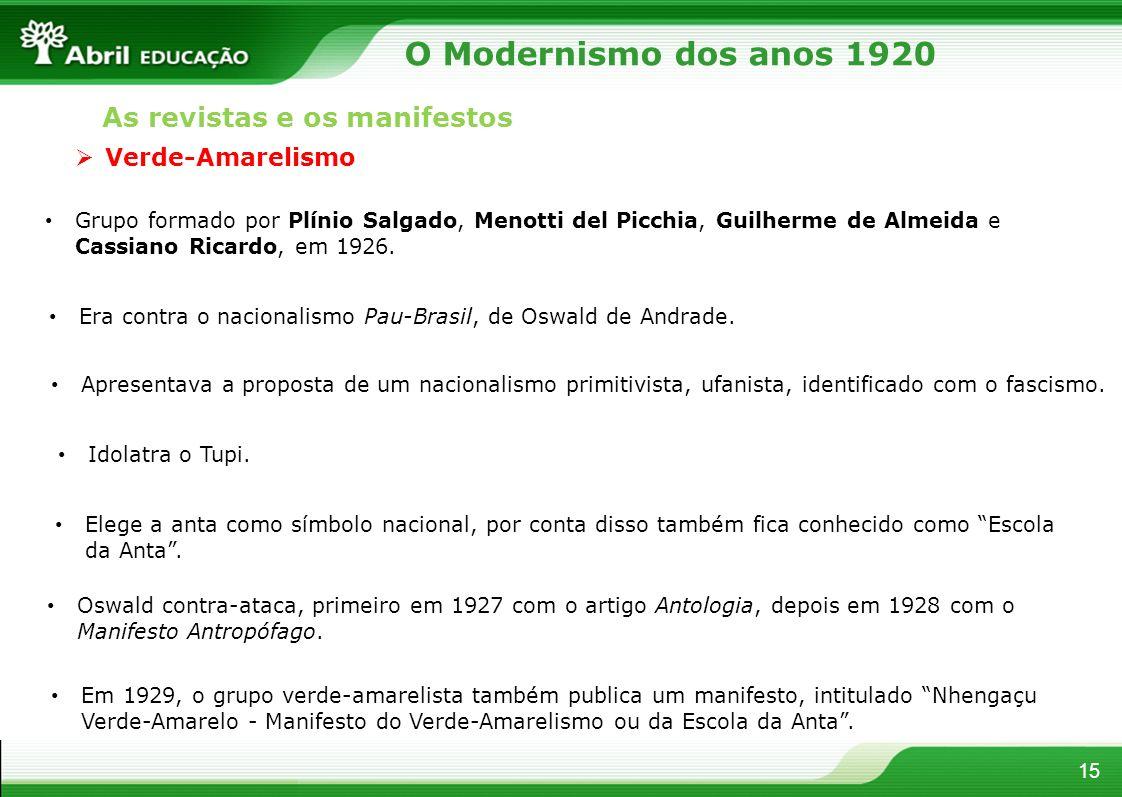 15 Verde-Amarelismo Grupo formado por Plínio Salgado, Menotti del Picchia, Guilherme de Almeida e Cassiano Ricardo, em 1926. Era contra o nacionalismo