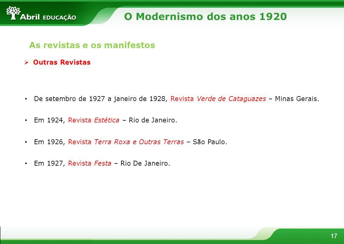 17 Outras Revistas De setembro de 1927 a janeiro de 1928, Revista Verde de Cataguazes – Minas Gerais. Em 1924, Revista Estética – Rio de Janeiro. Em 1