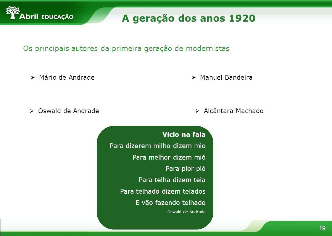 19 A geração dos anos 1920 Os principais autores da primeira geração de modernistas Mário de Andrade Oswald de Andrade Manuel Bandeira Alcântara Macha
