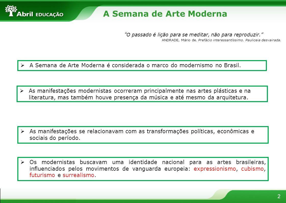 2 A Semana de Arte Moderna As manifestações modernistas ocorreram principalmente nas artes plásticas e na literatura, mas também houve presença da mús