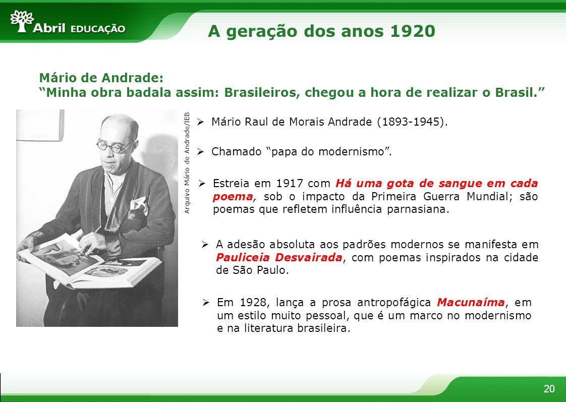 20 Mário de Andrade: Minha obra badala assim: Brasileiros, chegou a hora de realizar o Brasil. Mário Raul de Morais Andrade (1893-1945). Chamado papa