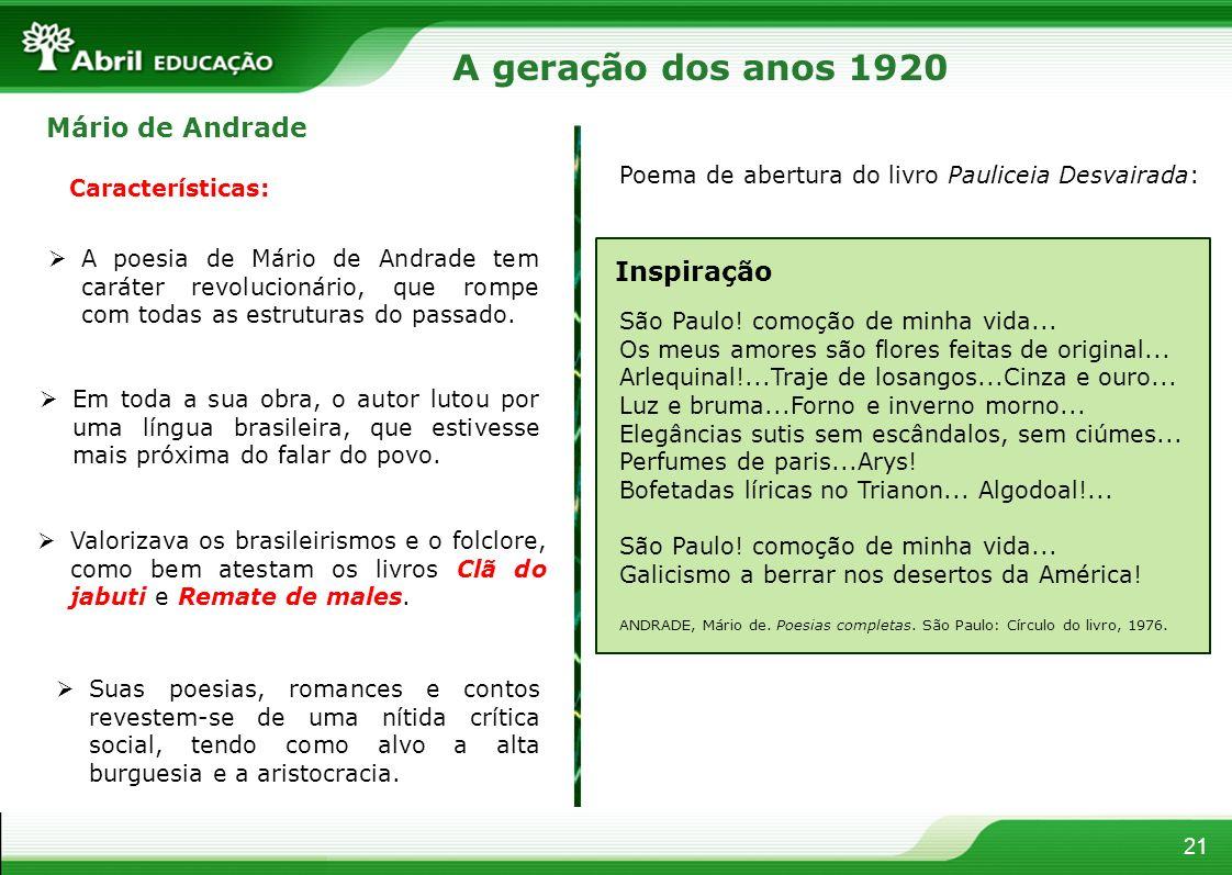 21 Mário de Andrade Características: A poesia de Mário de Andrade tem caráter revolucionário, que rompe com todas as estruturas do passado. Em toda a