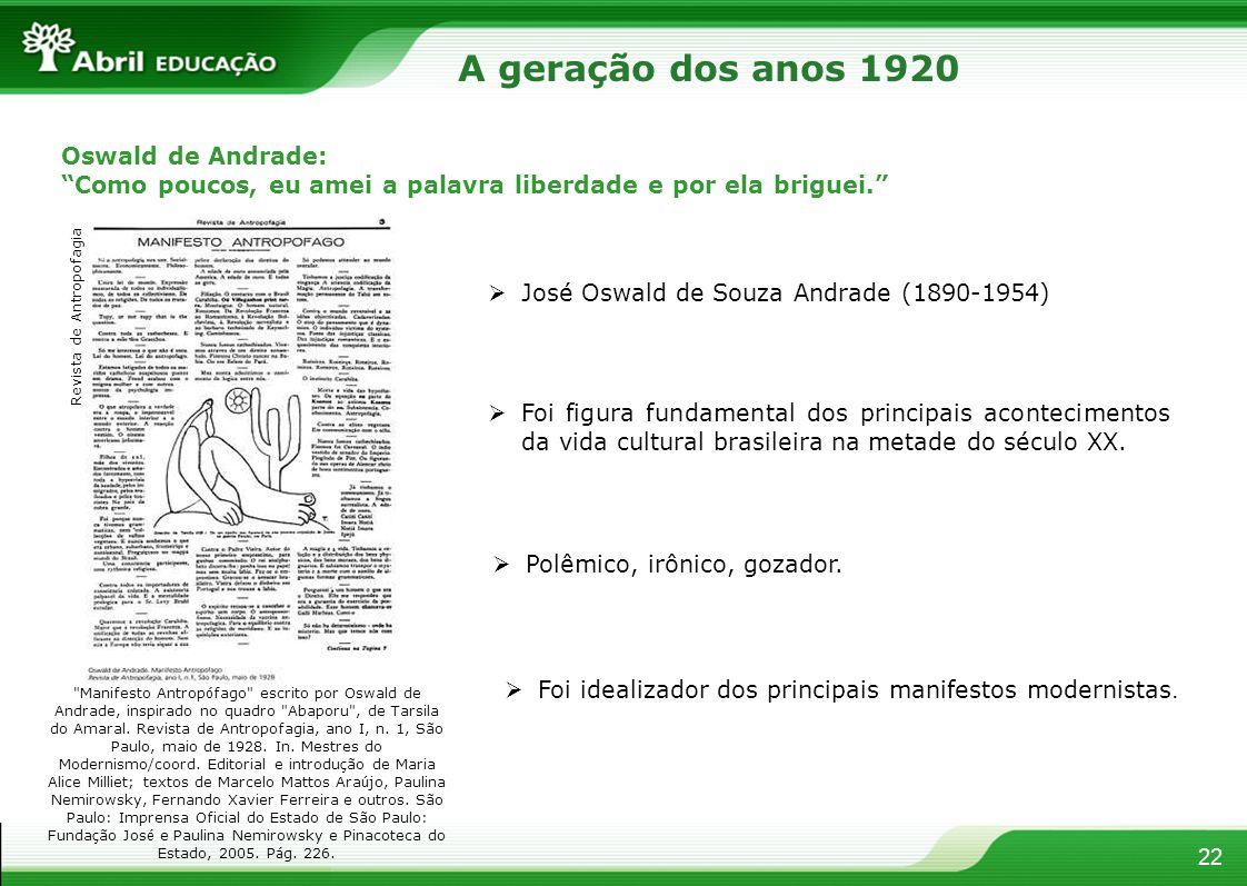 22 Oswald de Andrade: Como poucos, eu amei a palavra liberdade e por ela briguei. José Oswald de Souza Andrade (1890-1954) Foi figura fundamental dos