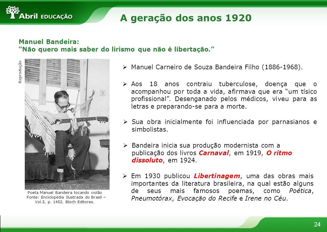 24 Manuel Bandeira: Não quero mais saber do lirismo que não é libertação. Manuel Carneiro de Souza Bandeira Filho (1886-1968). Aos 18 anos contraiu tu