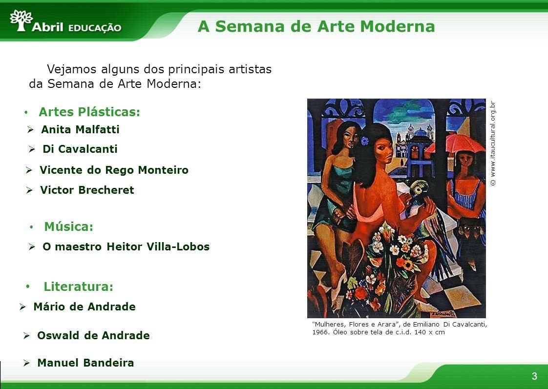 3 Vejamos alguns dos principais artistas da Semana de Arte Moderna: Anita Malfatti Di Cavalcanti Artes Plásticas: Vicente do Rego Monteiro Victor Brec