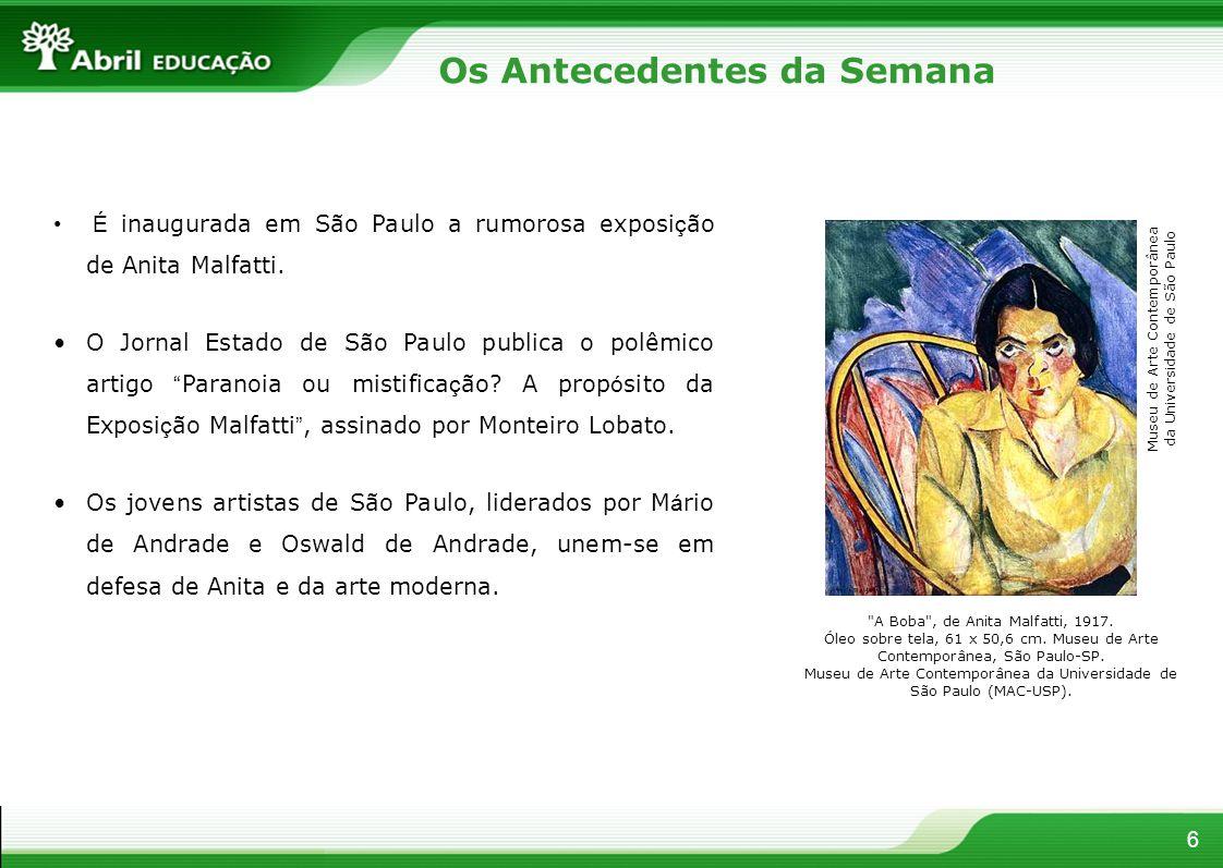 6 É inaugurada em São Paulo a rumorosa exposi ç ão de Anita Malfatti. O Jornal Estado de São Paulo publica o polêmico artigo Paranoia ou mistifica ç ã