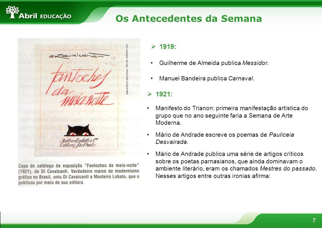 7 1919: Guilherme de Almeida publica Messidor. Manuel Bandeira publica Carnaval. 1921: Manifesto do Trianon: primeira manifestação artística do grupo