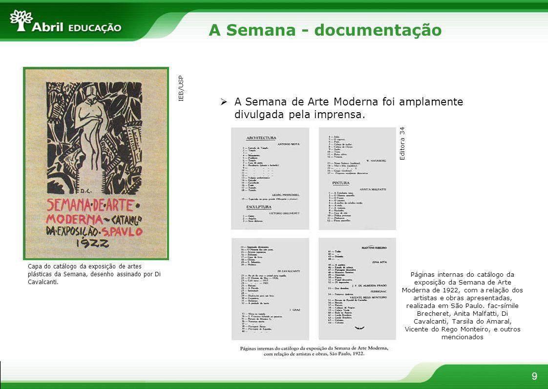 9 A Semana - documentação Capa do catálogo da exposição de artes plásticas da Semana, desenho assinado por Di Cavalcanti. A Semana de Arte Moderna foi