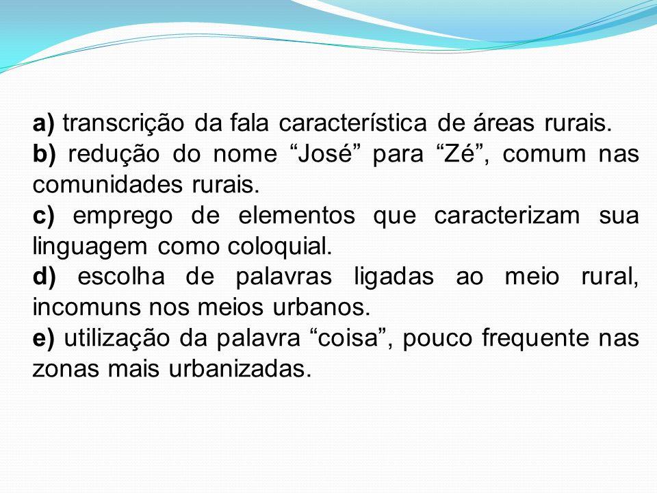 a) transcrição da fala característica de áreas rurais. b) redução do nome José para Zé, comum nas comunidades rurais. c) emprego de elementos que cara