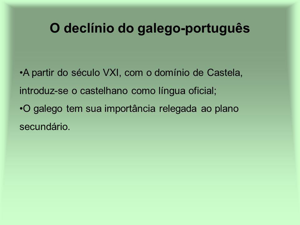 O declínio do galego-português A partir do século VXI, com o domínio de Castela, introduz-se o castelhano como língua oficial; O galego tem sua import