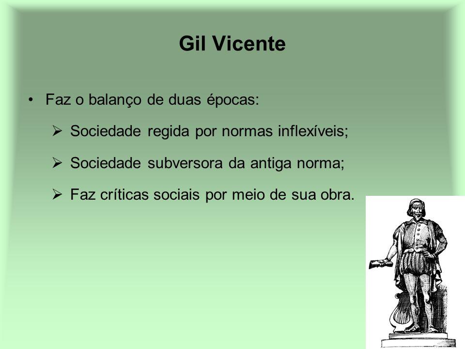 Gil Vicente Faz o balanço de duas épocas: Sociedade regida por normas inflexíveis; Sociedade subversora da antiga norma; Faz críticas sociais por meio