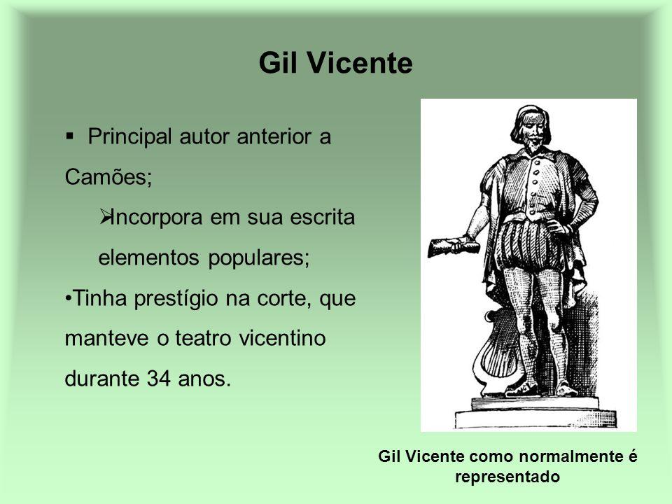 Gil Vicente Principal autor anterior a Camões; Incorpora em sua escrita elementos populares; Tinha prestígio na corte, que manteve o teatro vicentino