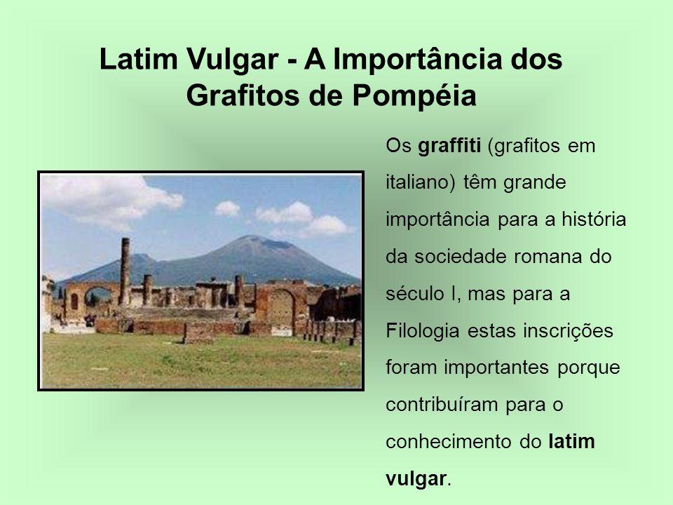 Os graffiti (grafitos em italiano) têm grande importância para a história da sociedade romana do século I, mas para a Filologia estas inscrições foram