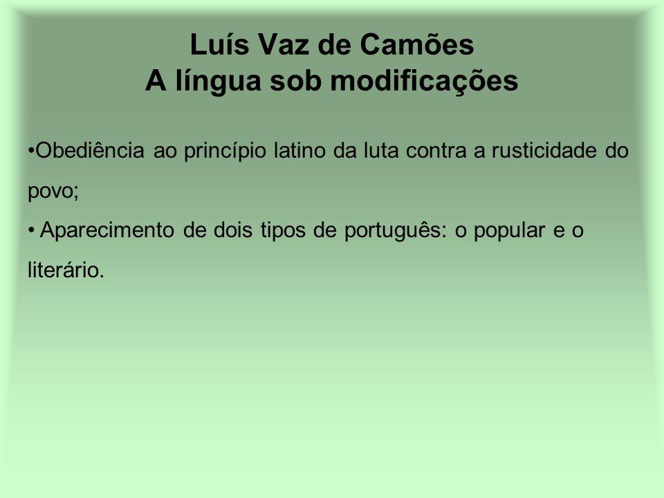 Luís Vaz de Camões A língua sob modificações Obediência ao princípio latino da luta contra a rusticidade do povo; Aparecimento de dois tipos de portug