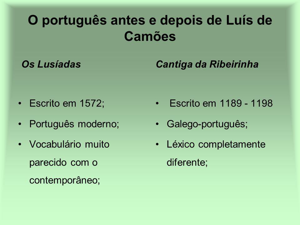 O português antes e depois de Luís de Camões Os Lusíadas Escrito em 1572; Português moderno; Vocabulário muito parecido com o contemporâneo; Cantiga d