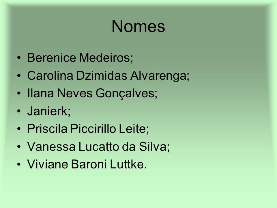 Nomes Berenice Medeiros; Carolina Dzimidas Alvarenga; Ilana Neves Gonçalves; Janierk; Priscila Piccirillo Leite; Vanessa Lucatto da Silva; Viviane Bar