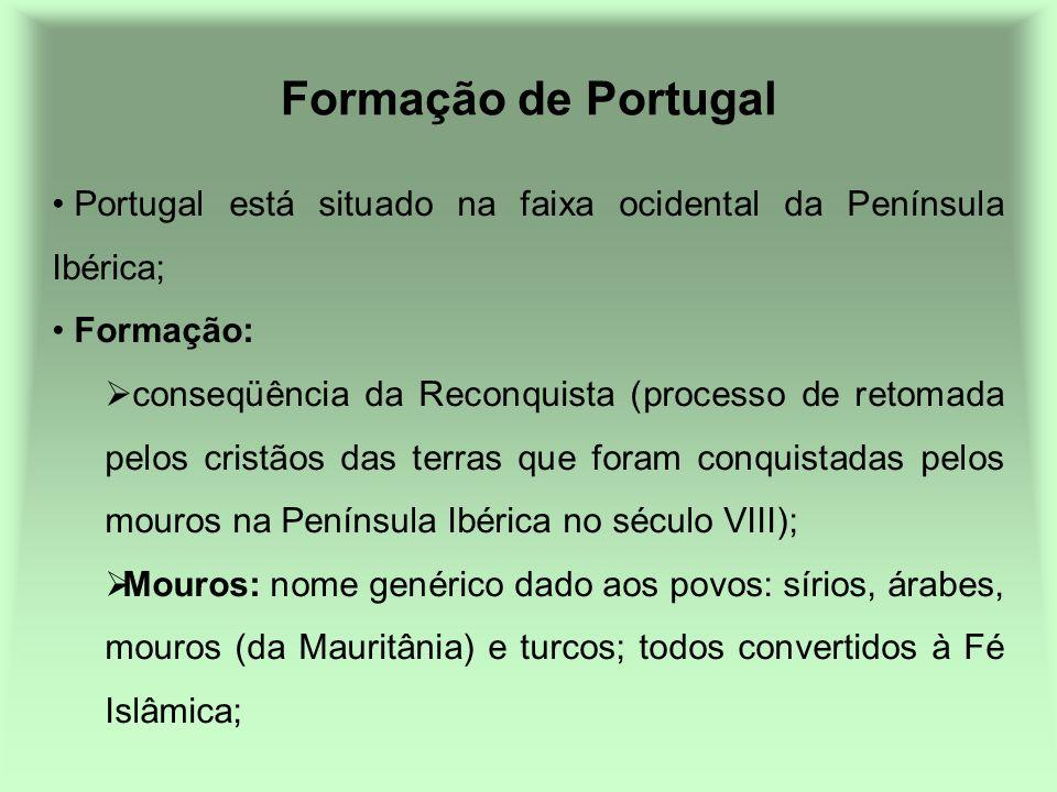 Formação de Portugal Portugal está situado na faixa ocidental da Península Ibérica; Formação: conseqüência da Reconquista (processo de retomada pelos